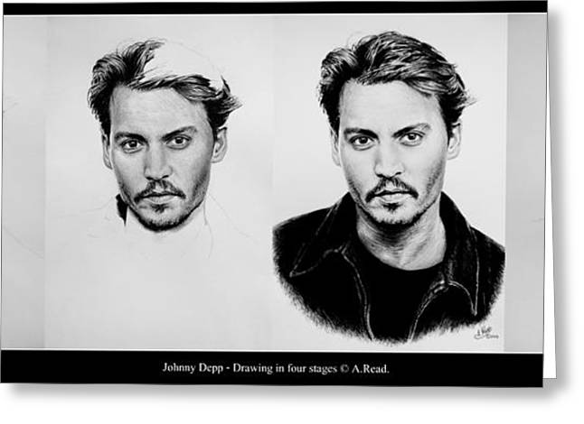 White Beard Greeting Cards - Johnny Depp 4 Greeting Card by Andrew Read