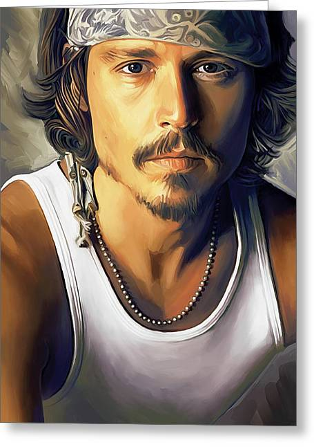 Celebrity Mixed Media Greeting Cards - Johnny Depp Artwork Greeting Card by Sheraz A
