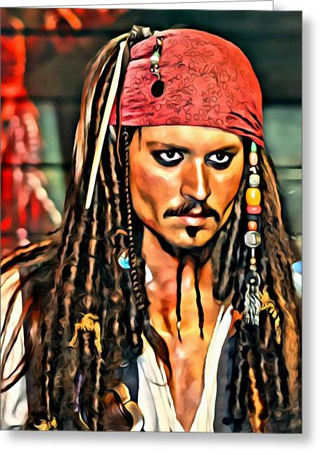Johnny Depp Poster Greeting Cards - Johnny Depp as Jack Sparrow Greeting Card by Florian Rodarte