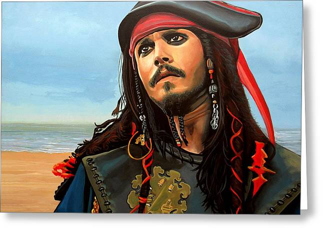Chest Paintings Greeting Cards - Johnny Depp as Jack Sparrow Greeting Card by Paul  Meijering