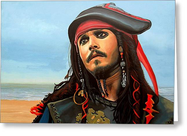 Johnny Depp As Jack Sparrow Greeting Card by Paul Meijering
