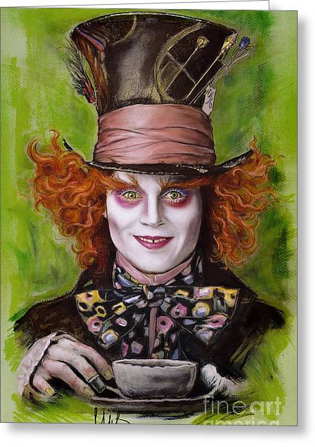 Mad Hatter Greeting Cards - Johnny Depp as Mad Hatter Greeting Card by Melanie D