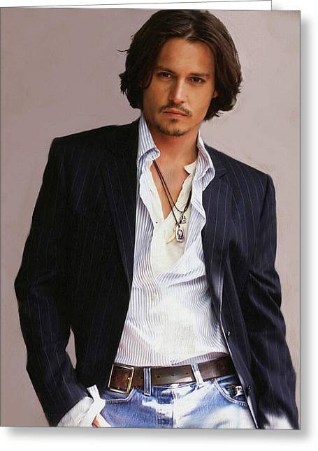 Famous Actor Paintings Greeting Cards - Johnny Depp Greeting Card by Dominique Amendola