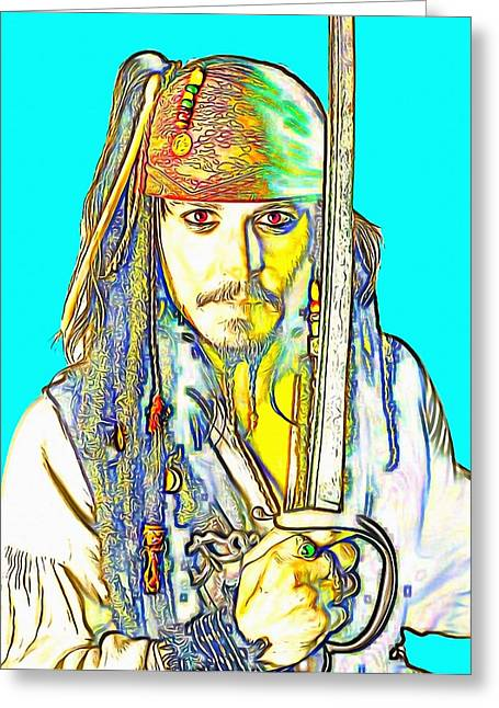 Hair Ornaments Greeting Cards - Johnny Depp in Pirates of the Caribbean Greeting Card by Art Cinema Gallery