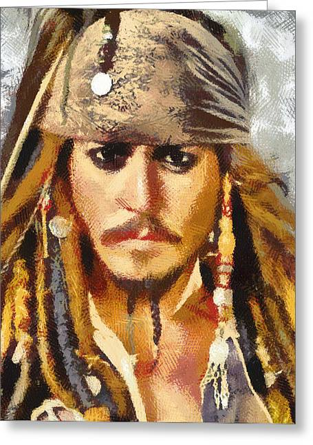 Captain Jack Sparrow Art Greeting Cards - Johnny Depp Jack Sparrow Greeting Card by Georgi Dimitrov