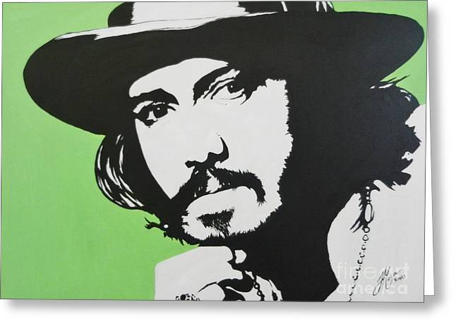 Famous Person Mixed Media Greeting Cards - Johnny Depp Greeting Card by Juan Molina
