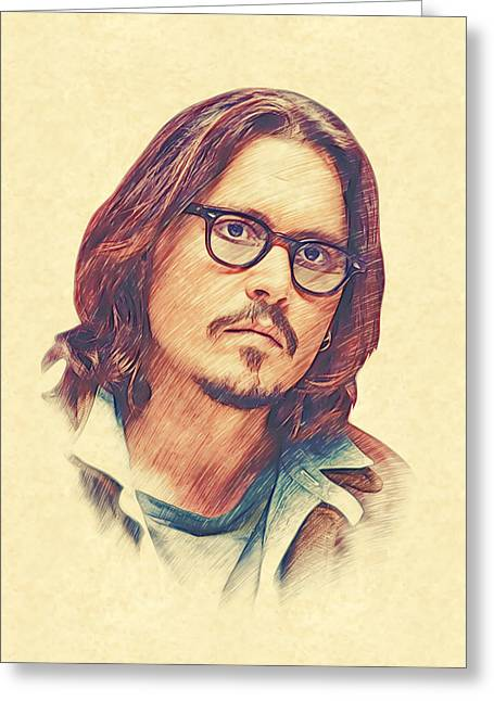 Johnny Depp Greeting Card by Marina Likholat