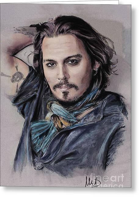 Movie Pastels Greeting Cards - Johnny Depp Greeting Card by Melanie D