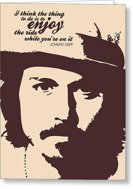 Johnny Depp Poster Greeting Cards - Johnny Depp Minimalist poster Greeting Card by Lab No 4 - The Quotography Department