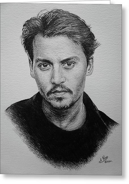 Andrew Read Greeting Cards - Johnny Depp Original Greeting Card by Andrew Read