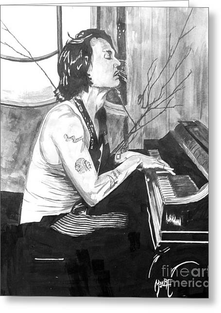 Johnny Depp Poster Greeting Cards - Johnny Depp Piano Greeting Card by Justin Moore