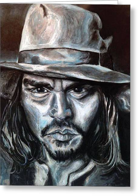 Famous Person Mixed Media Greeting Cards - Johnny Depp Portrait Greeting Card by Katie Lane
