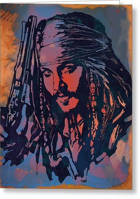 In Trouble Greeting Cards - Johnny Depp - Stylised Etching Pop Art Poster Greeting Card by Kim Wang