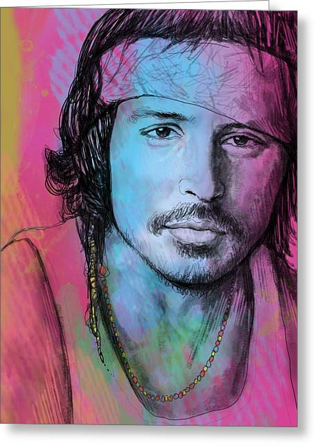 Golden Globe Greeting Cards - Johnny Depp - stylised pop art drawing sketch poster Greeting Card by Kim Wang
