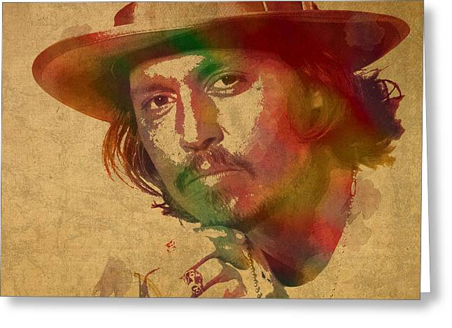 Depp Greeting Cards - Johnny Depp Watercolor Portrait on Worn Distressed Canvas Greeting Card by Design Turnpike