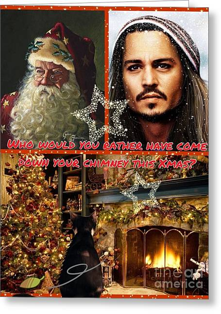 Humorous Greeting Cards Mixed Media Greeting Cards - Johnny Depp Xmas Greeting Greeting Card by Joan-Violet Stretch