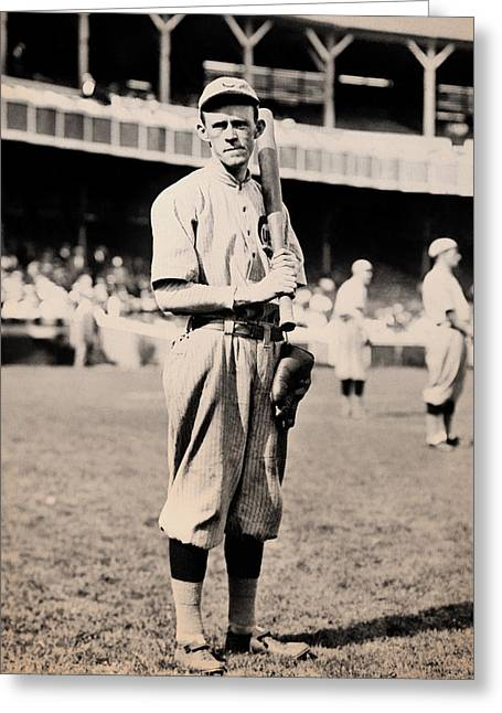 Baseball Stadiums Greeting Cards - Johnny Evers 1910 Greeting Card by Mountain Dreams