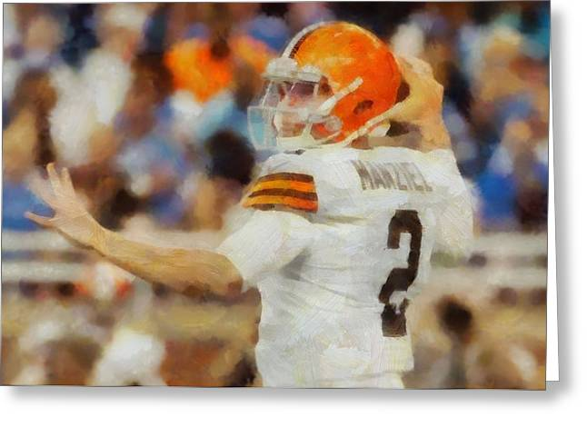 National Football League Paintings Greeting Cards - Johnny Football Greeting Card by Dan Sproul