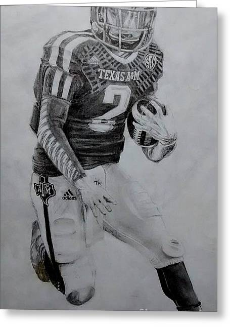 Johnny Manziel Drawings Greeting Cards - Johnny Football Greeting Card by Ezra Strayer