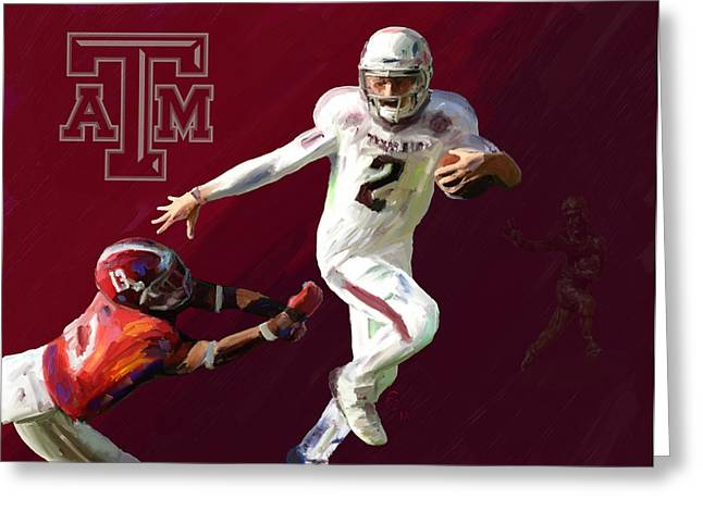 University Of Alabama Greeting Cards - Johnny Football Greeting Card by GCannon
