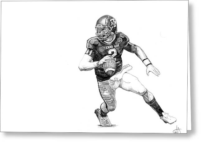 Johnny Manziel Drawings Greeting Cards - Johnny Football Greeting Card by Joshua Sooter