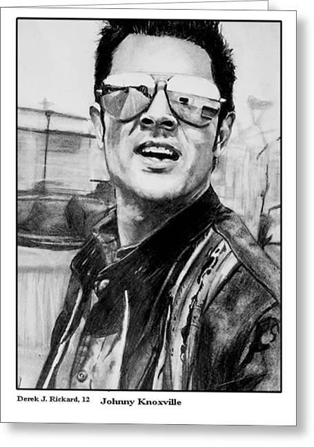 Aviator Drawings Greeting Cards - Johnny Knoxville Portrait Print Greeting Card by Derek Rickard