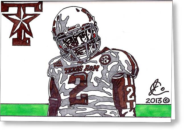Texas A Drawings Greeting Cards - Johnny Manziel 11  Greeting Card by Jeremiah Colley
