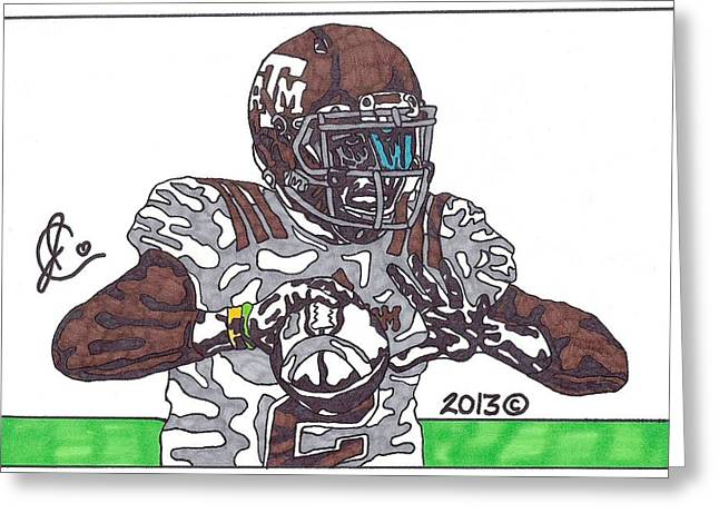 Texas A Drawings Greeting Cards - Johnny Manziel 12 Greeting Card by Jeremiah Colley