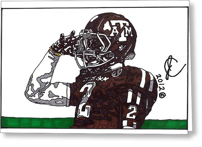 Johnny Manziel Drawings Greeting Cards - Johnny Manziel the Salute Greeting Card by Jeremiah Colley