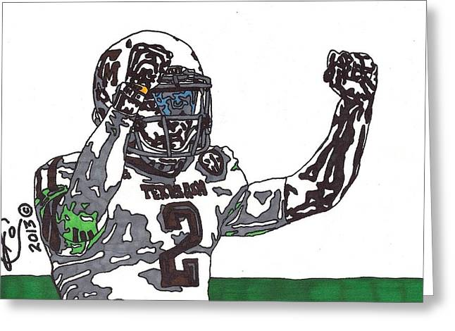 Texas A Drawings Greeting Cards - Johnny Manziel 3 Greeting Card by Jeremiah Colley