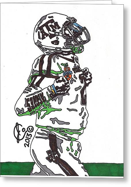 Johnny Manziel Drawings Greeting Cards - Johnny Manziel 4 Greeting Card by Jeremiah Colley