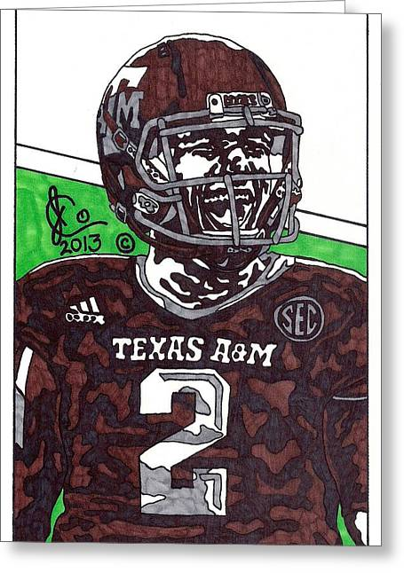 Texas A Drawings Greeting Cards - Johnny Manziel 6 Greeting Card by Jeremiah Colley
