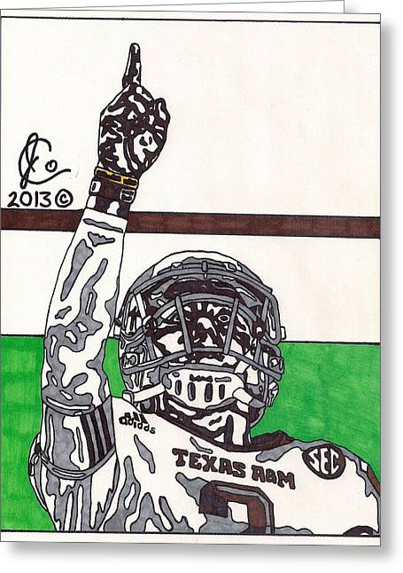 Texas A Drawings Greeting Cards - Johnny Manziel 7 Greeting Card by Jeremiah Colley