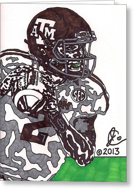 Texas A Drawings Greeting Cards - Johnny Manziel 8 Greeting Card by Jeremiah Colley