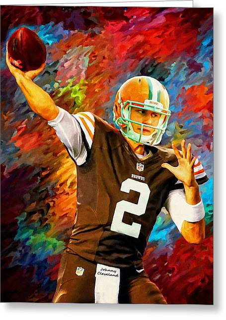 Best Sellers -  - Nike Greeting Cards - Johnny Manziel Cleveland Browns Football Art Painting Greeting Card by Andres Ramos
