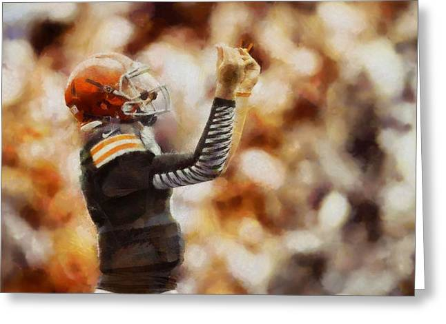 Cleveland Browns Greeting Cards - Johnny Manziel Greeting Card by Dan Sproul