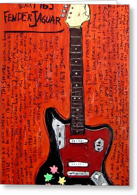 Pretender Greeting Cards - Johnny Marr Fender Jaguar Greeting Card by Karl Haglund