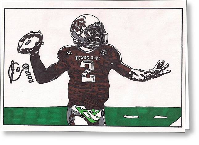 Texas A Drawings Greeting Cards - Johnny Menziel Greeting Card by Jeremiah Colley