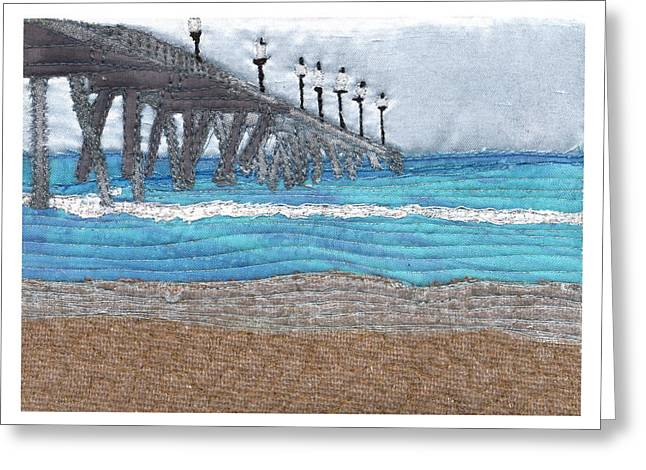 White Tapestries - Textiles Greeting Cards - Johnny Mercers Pier at Wrightsville Beach Greeting Card by Anita Jacques