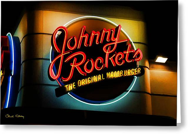 Night Cafe Greeting Cards - Johnny Rockets Sign Greeting Card by Chuck Staley