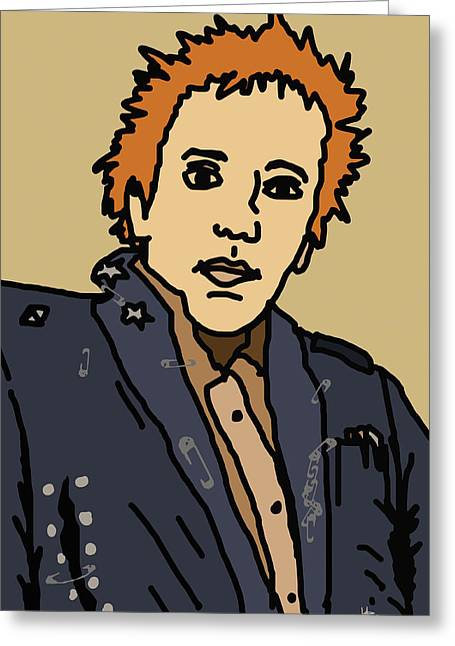 Irish Rock Band Greeting Cards - Johnny Rotten Greeting Card by Jera Sky