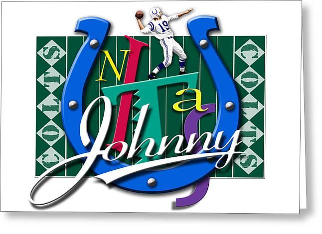 Johnny Unitas Baltimore Colts Greeting Card by Ron Regalado