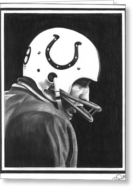 National Icon Drawings Greeting Cards - Johnny Unitas Greeting Card by Billy Burdette