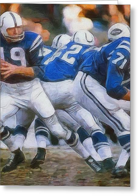 Johnny Unitas Painting Greeting Card by Dan Sproul