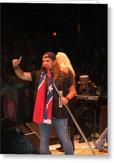 Confederate Flag Greeting Cards - Johnny Van Zant of Lynyrd Skynyrd Greeting Card by John Telfer
