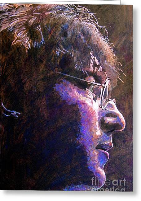 John Lennon Paintings Greeting Cards - Johnny We Miss You Greeting Card by David Lloyd Glover
