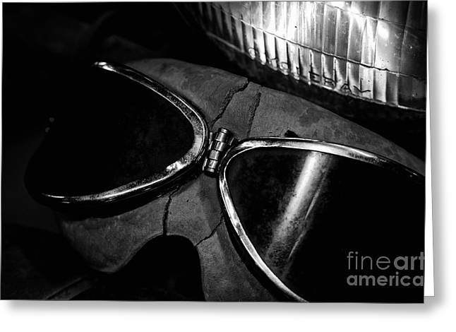 Fraying Greeting Cards - Johnnys Old Motorcycle Goggles Black and White Greeting Card by Wilma  Birdwell