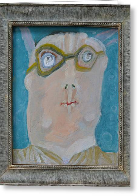 Glasses Reflecting Drawings Greeting Cards - Johns Dad Seeing Babies Born - Framed Greeting Card by Nancy Mauerman