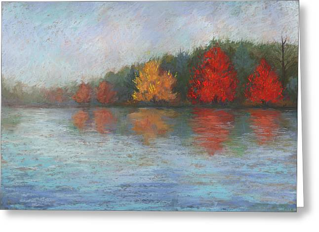 Fall Colors Pastels Greeting Cards - Johns Pond Greeting Card by Mary Olivera