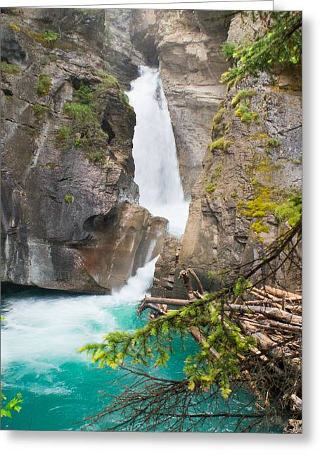 Johnston Greeting Cards - Johnson Canyon Waterfall and Blue Pool Greeting Card by Douglas Barnett